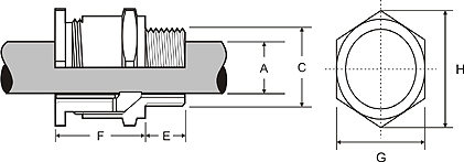 A2 Brass Cable Gland Drawing